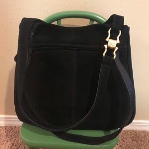 Etienne Aigner black genuine suede hobo bag
